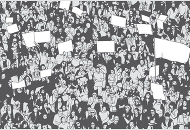 Stylized drawing of demonstrating crowd from high angle view