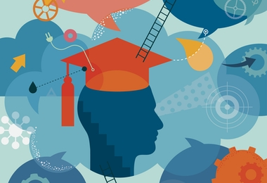 Abstract vector illustration is showing a student become graduate. Head silhouette wearing a graduation had is placed into the centre as  a main element. All around surface/and head, there are placed different elements, which are showing graduates thoughts, achievements and also future goals. We can find ladders which are metaphor for all improvements; gears for thinking; puzzles for solutions; target for goals; stairs for moving up ect. Illustration is using mainly blue palette (blue as a color is associated with wisdom) which is highlighted with orange and yellow tones. Illustration is nicely layered.