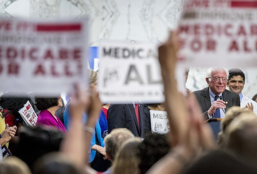 Sen. Bernie Sanders, I-Vt., right, speaks at a news conference on Capitol Hill in Washington, Wednesday, Sept. 13, 2017, to unveil Medicare for All legislation to reform health care. (AP Photo/Andrew Harnik)