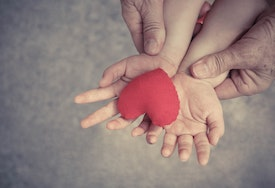 old hands holding young hands of a baby with red heart / Love and relationship in a family