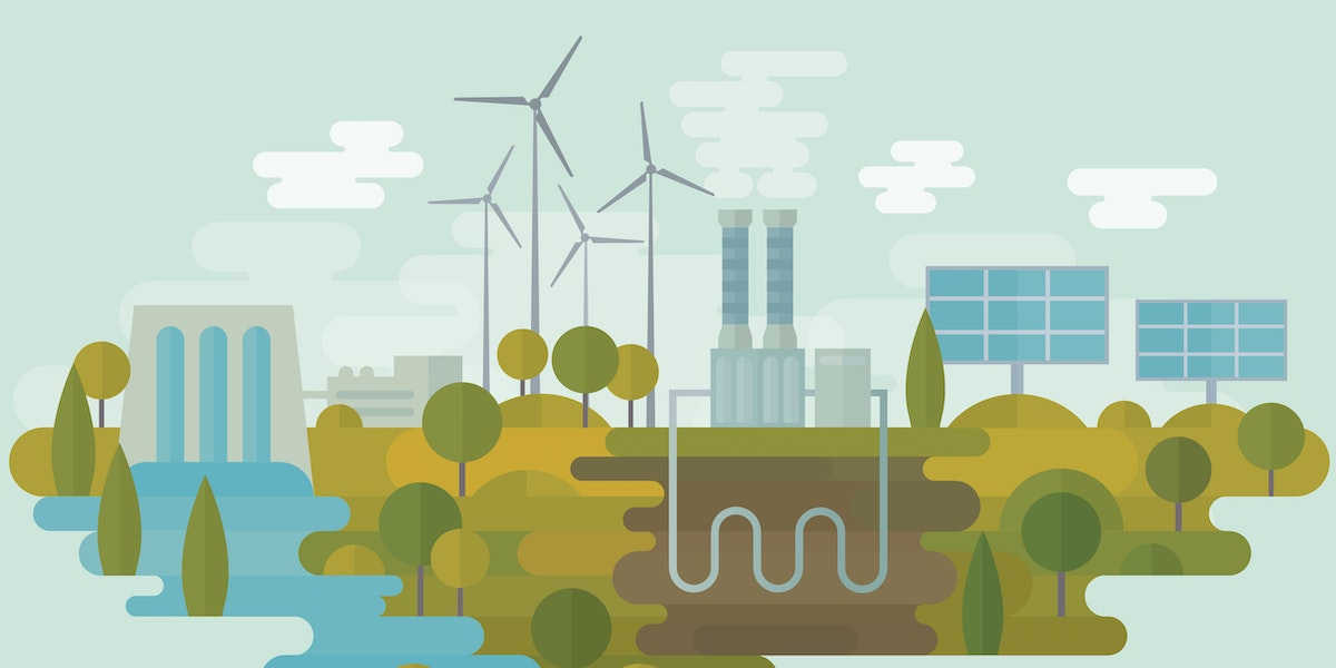 Flat vector illustration is showing alternative clean energy sources: hydro energy, wind energy, geothermal energy and solar energy. Nicely layered.