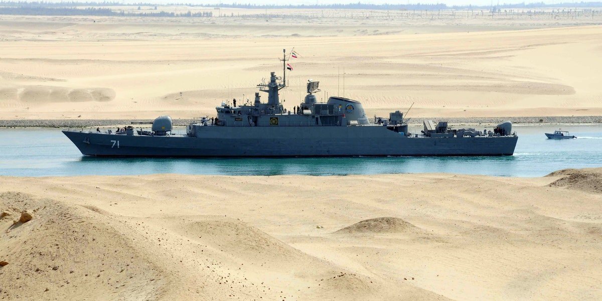 Iranian patrol frigate Alvand transits through the Suez Canal on February 22, 2011 bound, along with support ship Kharg, for the Mediterranean Sea on a purported training mission that Israel regards as a provocation. AFP PHOTO/STR (Photo credit should read -/AFP/Getty Images)