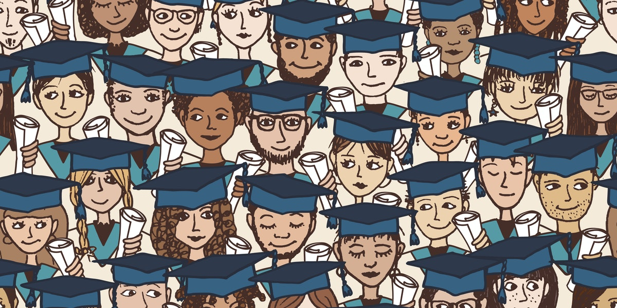 Hand Drawn Seamless Pattern Of A Group Cartoon Students With Graduation Caps And Their Degree