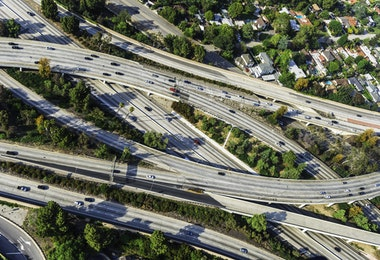 Aerial view of highways, interchanges, and traffic in Los Angeles California
