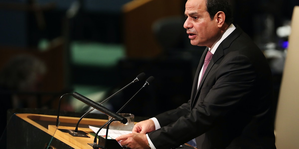 NEW YORK, NY - SEPTEMBER 19:  Egyptian President Abdel Fattah el-Sisi speaks to world leaders at the 72nd United Nations (UN) General Assembly at UN headquarters in New York on September 19, 2017 in New York City. Topics to be discussed at this year's gathering include Iran, North Korea and global warming.  (Photo by Spencer Platt/Getty Images)