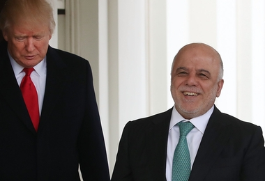 WASHINGTON, DC - MARCH 20:  U.S. President Donald Trump (L) welcomes Iraqi Prime Minister Haider al-Abadi upon his arrival for a meeting at the White House, on March 20, 2017 in Washington, DC.  (Photo by Mark Wilson/Getty Images)