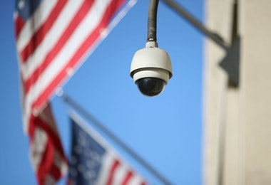 WASHINGTON, DC - FEBRUARY 02: A camera is seen mounted to the FBI headquarters, on February 2, 2018 in Washington, DC. President Donald Trump contemplating the possible release of a highly controversial Republican memo alleging the FBI abused its surveillance tools.  (Photo by Mark Wilson/Getty Images)