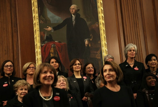 WASHINGTON, DC - JANUARY 30:  U.S. House Democrats wear black as they participate in a photo-op at the U.S. Capitol prior to President Donald Trump's first State of the Union address January 30, 2018 in Washington, DC. House Democrats plan to show up in black when attending the State of the Union address this evening in support the #MeToo and #TimesUp movements.  (Photo by Alex Wong/Getty Images)