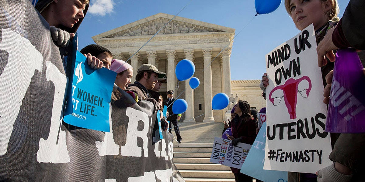 WASHINGTON, DC - MARCH 2: at the Supreme Court, March 2, 2016 in Washington, DC.  On Wednesday morning, the Supreme Court will hear oral arguments in the Whole Woman's Health v. Hellerstedt case, where the justices will consider a Texas law requiring that clinic doctors have admitting privileges at local hospitals and that clinics upgrade their facilities to standards similar to hospitals. (Drew Angerer/Getty Images)