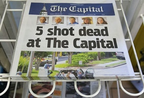ANNAPOLIS, MD - JUNE 29: Today's edition of the the Capital Gazette for sale on a newspaper stand, on June 289, 2018 in Annapolis, Maryland. Yesterday 5 people were shot and killed in the daily newspapers newsroom by a lone gunman. Jarrod Ramos of Laurel Md. has been arrested and charged with killing 5 people at the daily newspaper.  (Photo by Mark Wilson/Getty Images)