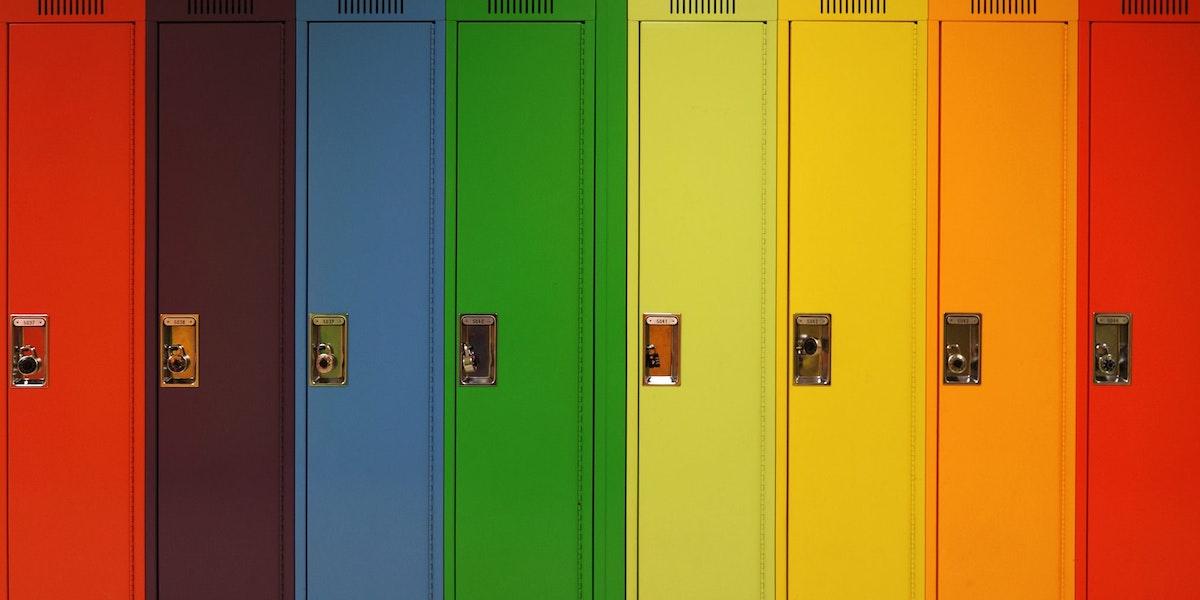 Rainbow of school lockers.