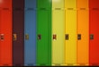 Rainbow of school lockers.