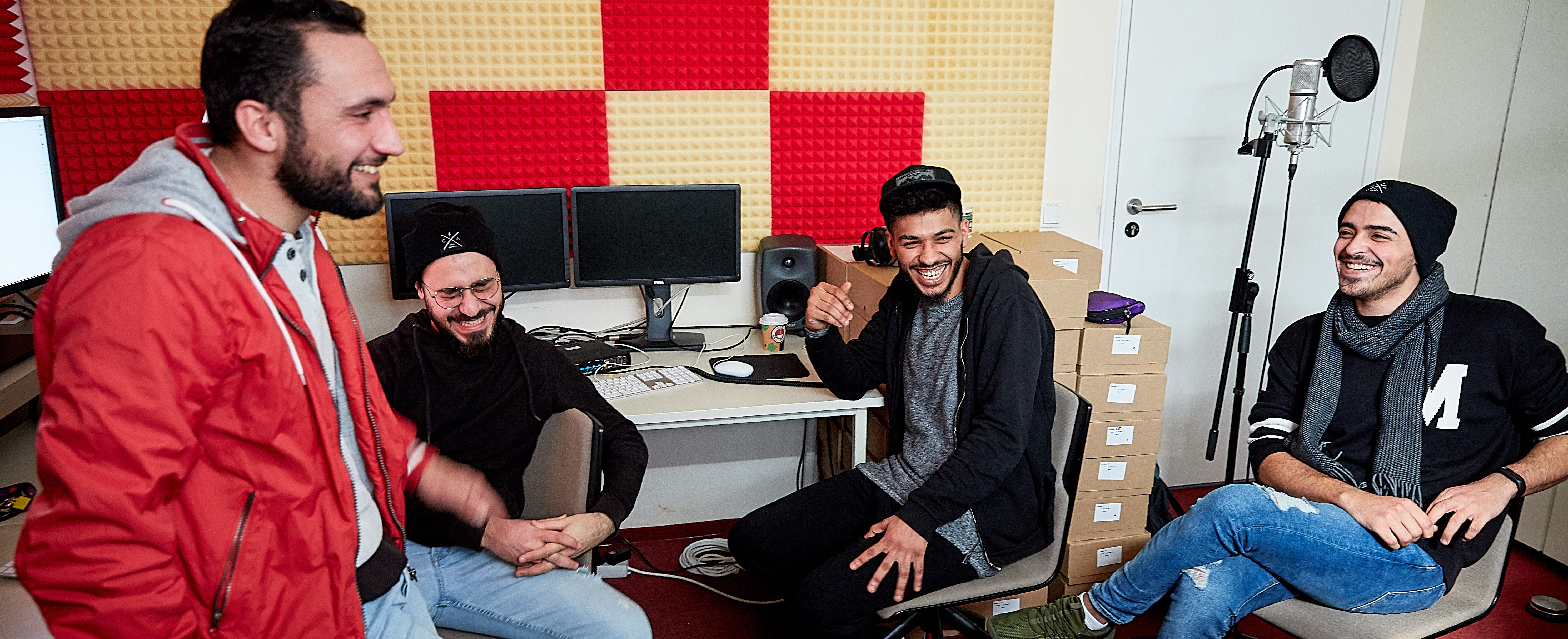Objects Association For L Formed Computer Desk (Lu2013R) Mohamed Alhalabi, a Syrian refugee now studying at Berlinu0027s  University of the Arts, in a university recording studio with friends from  Damascus; ...