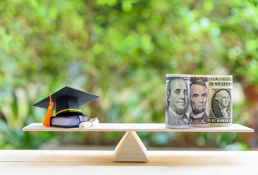 Money cost saving for goal and success in school, education concept : US USD dollar notes or cash, graduation cap, a text book, a certificate / diploma on basic wooden balance scale. Green background.