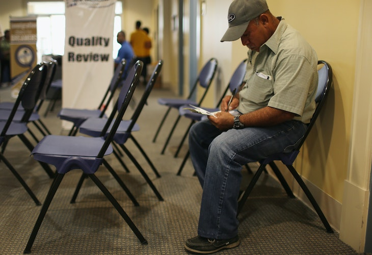 MIAMI, FL - SEPTEMBER 13:  Hector Perez, originally from Guatemala, attends a citizenship clinic for assistance in applying for United States citizenship September 13, 2014 in Miami, Florida. The clinic put on by the Florida New Americans (FNA) program, an initiative of the Florida Immigrant Coalition, provides legal assistance, study materials and information to Floridians applying for U.S. citizenship. Today, the program partnered with the Florida International University and Catholic Legal Services of the Archdiocese of Miami, to assist current eligible green-card holders with their citizenship application.  (Photo by Joe Raedle/Getty Images)
