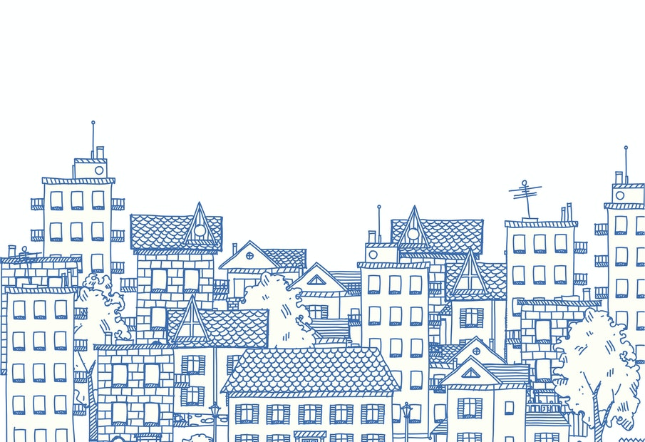 Line drawing of a city with many apartment buildings and private houses. Left half.