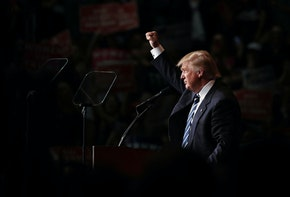 EAU CLAIRE, WI - NOVEMBER 01:  Republican presidential nominee Donald Trump speaks at a campaign rally at the W.L. Zorn Arena November 1, 2016 in Eau Claire, Wisconsin. Wisconsin Governor Scott Walker, campaigning with Trump at the rally, ran for the Republican nomination against Trump and eventually dropped out of the race for the presidency.  (Photo by Chip Somodevilla/Getty Images)