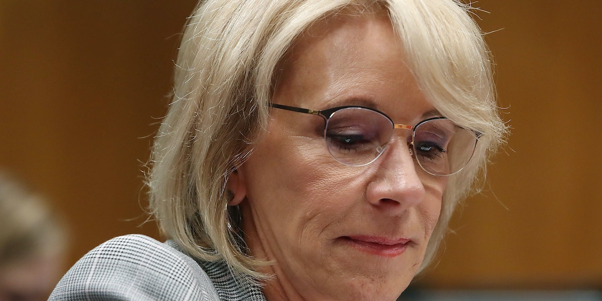 WASHINGTON, DC - JUNE 05:  Education Secretary Betsy DeVos testifies during a Senate Appropriations Subcommittee hearing on Capitol Hill, June 5, 2018 in Washington, DC. The subcommittee heard testimony on the administrations FY2019 budget request for the Education Department.  (Photo by Mark Wilson/Getty Images)