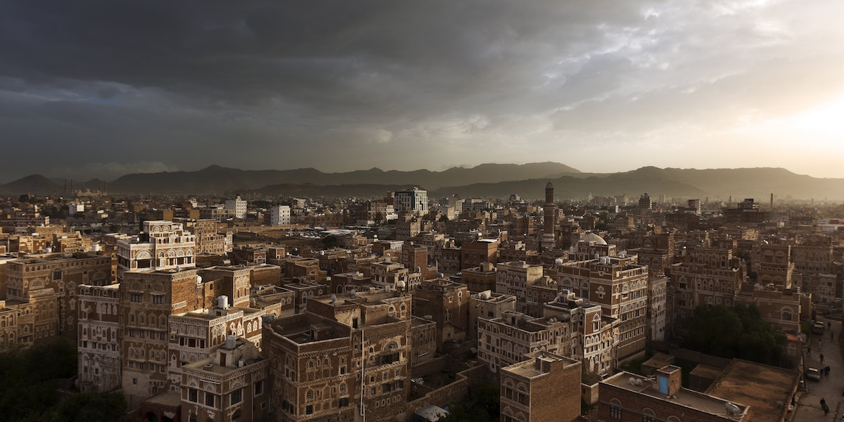 SANA'A, YEMEN - AUGUST 2010:  Images over the ancient old city within the heart of Sana'a, the capital city of Yemen, August 16, 2010.  (Photo by Brent Stirton/Reportage by Getty Images)