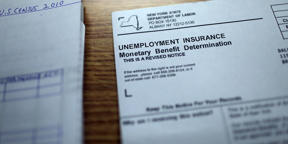 NEW YORK - OCTOBER 08:  Dale Chandler's unemployment insurance notice sits on a table on October 8, 2010 in the Brooklyn borough of New York City. The U.S. government reported today that the U.S. economy continued to shed jobs for the month of September. The unemployment rate remained unchanged at 9.6 percent in August.  (Photo by Spencer Platt/Getty Images)