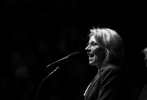 GRAND RAPIDS, MI - DECEMBER 9: (L to R) Betsy DeVos, his nominee for Secretary of Education, speaks as President-elect Donald Trump looks on at the DeltaPlex Arena, December 9, 2016 in Grand Rapids, Michigan. President-elect Donald Trump is continuing his victory tour across the country. (Photo by Drew Angerer/Getty Images)