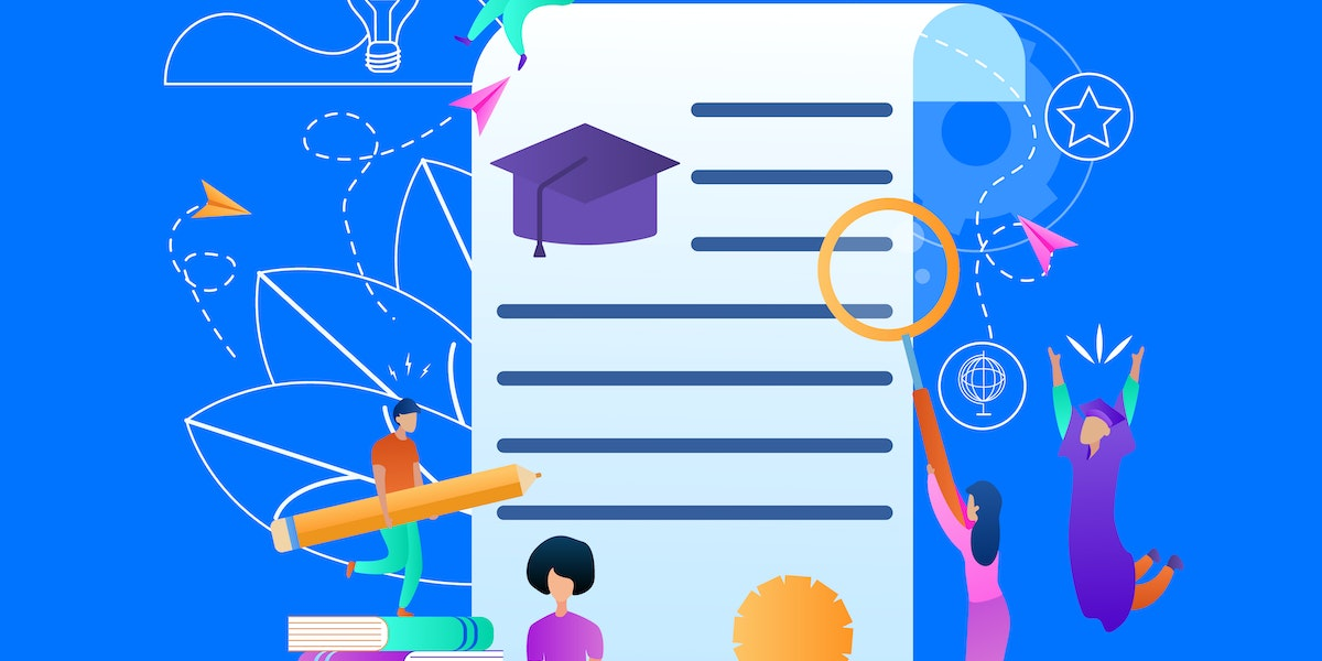 Training Young People Gaining Knowledge From Books and Internet Around of Certificate. Banner with Copy Space, Outline Elements. Online Learning Students Composition. Flat Vector Illustration, Banner