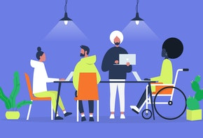 Office life. Diversity collective. Startup. Millennials at work. Generation z. Technologies. Project management. Flat editable vector illustration, clip art