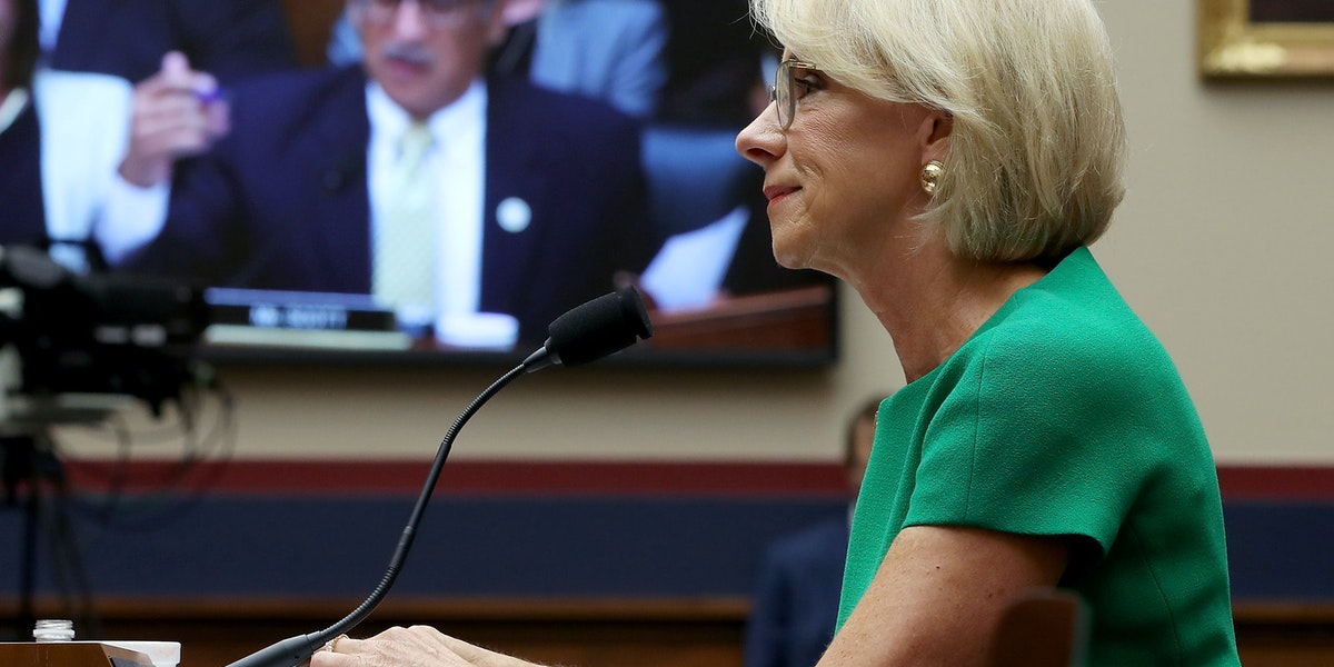 WASHINGTON, DC - MAY 22:  Rep. Bobby Scott (D-VA) (on video screen) questions Education Secretary Betsy DeVos during a House House Education and the Workforce Committee hearing on Capitol Hill, May 22, 2018 in Washington, DC. The hearing focus is on examining the policies and priorities of the U.S. Department of Education.  (Photo by Mark Wilson/Getty Images)