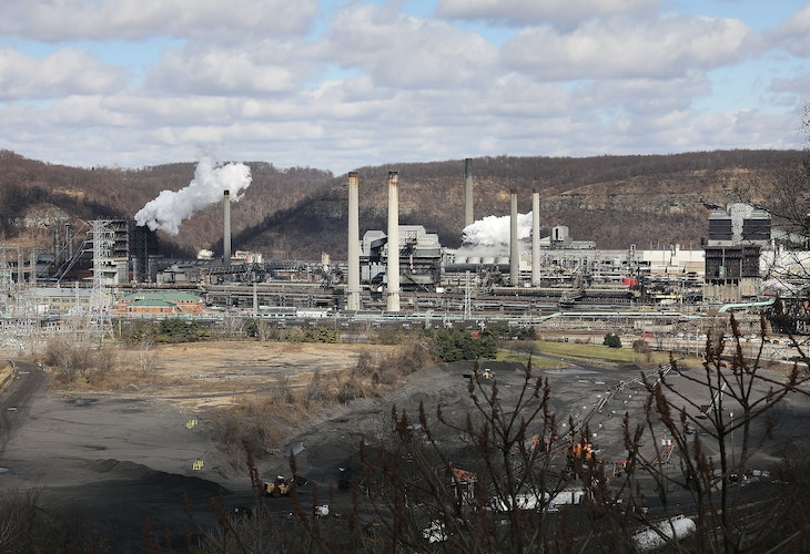 CLAIRTON, PA - MARCH 02:  The United States Steel Corporation plant stands in the town of Clairton on March 2, 2018 in Clairton, Pennsylvania. In a controversial move that has angered European Union leaders, President Donald Trump has announced a plan to place tariffs on steel and aluminum imports. The European Union head president, Jean-Claude Juncker, has said he will put tariffs on products like Harley-Davidsons, Kentucky bourbon and bluejeans if the steel tariffs go through.  (Photo by Spencer Platt/Getty Images)