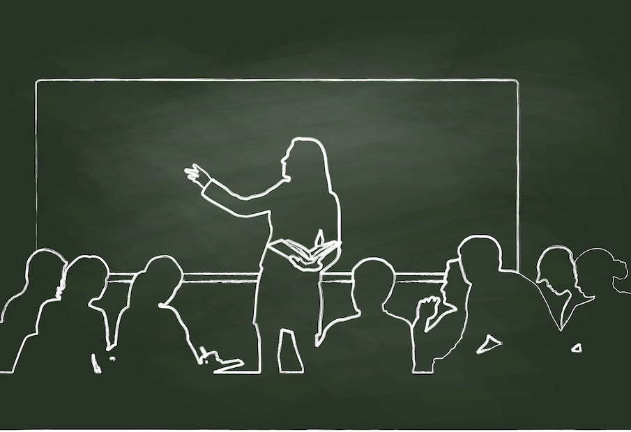 Chalk vector illustration of a woman teacher and students listening to the lecture