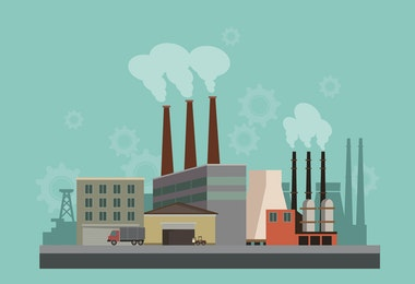 Industryal background - industry factory. Flat style