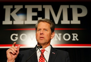 ATHENS, GA - NOVEMBER 06:  Republican gubernatorial candidate Brian Kemp attends the Election Night event at the Classic Center on November 6, 2018 in Athens, Georgia.  Kemp is in a close race with Democrat Stacey Abrams.  (Photo by Kevin C. Cox/Getty Images)