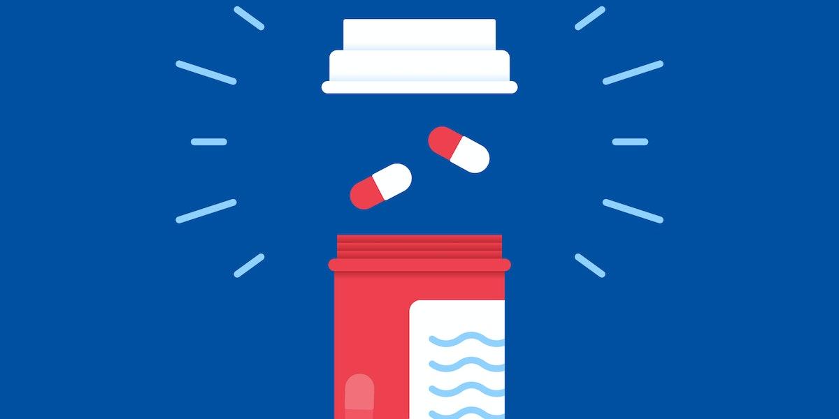 Prescription medicine bottles for health care.