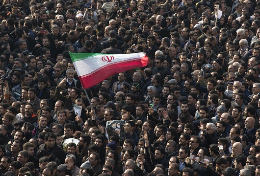 TEHRAN, IRAN - JANUARY 10:   Mourners attend the funeral of former Iranian President Akbar Hashemi Rafsanjanii, January 10, 2017 in Tehran, Iran. Rafsanjani, who was 82, was a pivotal figure in the foundation of the Islamic republic in 1979, served as president from 1989 to 1997. After a long career in the ruling elite, where his moderate views were not always welcome, his cunning guided him through revolution, war and the country's turbulent politics. (Photo by Majid Saeedi/Getty Images)