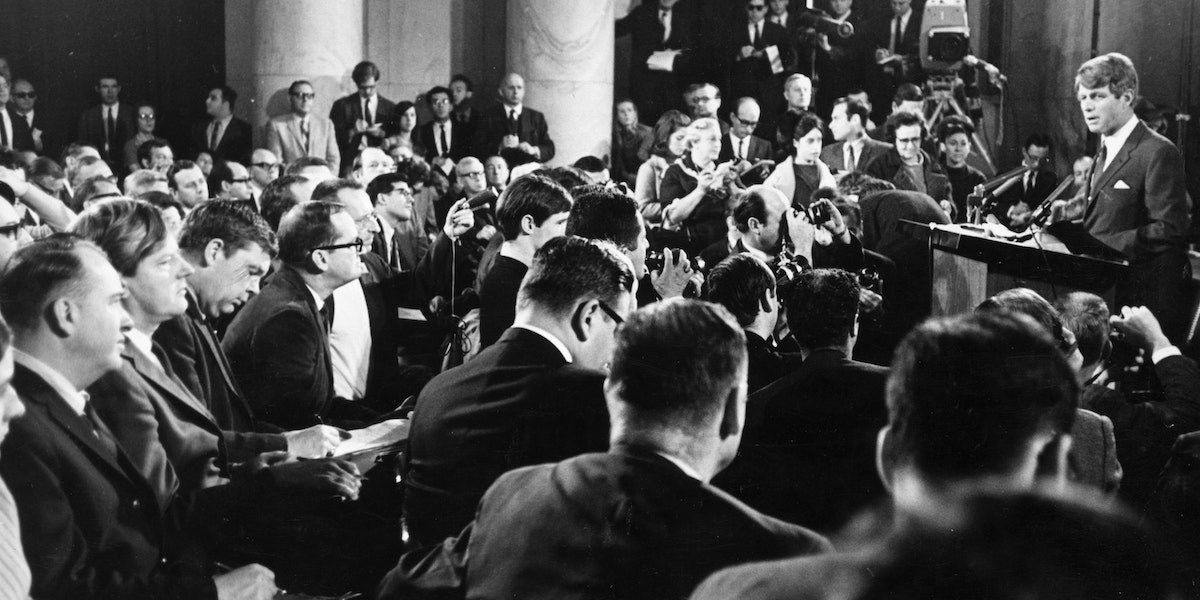 American politician Robert Kennedy announces his decision to challenge Lyndon Baines Johnson for the presidential nomination of the Democratic Party at a televised press conference in the Senate caucus room at Washington DC. Johnson later resigned from the race and Kennedy was shot shortly after winning the California Primary.   (Photo by Keystone/Getty Images)