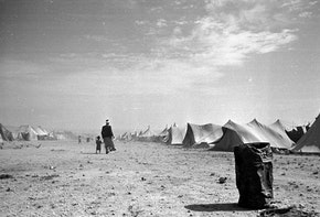 25th June 1949:  A Palestinian refugee camp near the shores of the Dead Sea in Jordan, in the year following the Arab Israeli War which marked the creation of the State of Israel. Original Publication: Picture Post - 4818 - Who'll Help The Refugee Arabs? - pub. 1949  (Photo by Charles Hewitt/Picture Post/Hulton Archive/Getty Images)