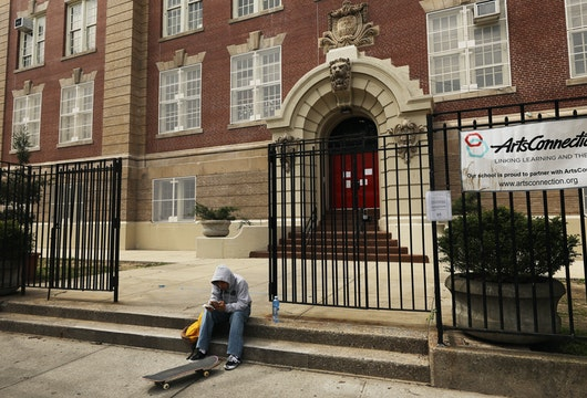 NEW YORK, NEW YORK - APRIL 14: A public school stands closed on April 14, 2020 in the Brooklyn borough of New York City. According to New York City Mayor Bill de Blasio, New York City's public schools will remain closed through the end of the academic year because of the coronavirus. But following that statement, Governor Andrew Cuomo, who often disputes with the mayor, stated that the final decision on how long schools will be closed was his. (Photo by Spencer Platt/Getty Images)