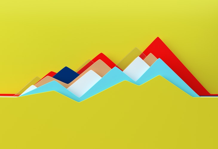 Digital generated image of abstract multi colored line chart on yellow background