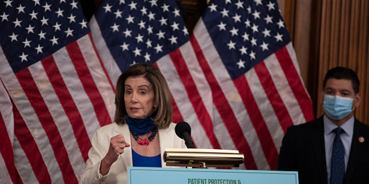WASHINGTON, DC - JUNE 24: U.S. House Speaker Nancy Pelosi speaks at a news conference at the U.S. Capitol on June 23, 2020 in Washington, DC. Pelosi and House Democrats discussed proposed legislation that aims to lower health care costs.  (Photo by Tasos Katopodis/Getty Images)