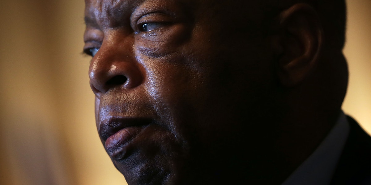 WASHINGTON, DC - JULY 23: U.S. Rep. John Lewis (D-GA) listens during a news conference on LGBT discrimination July 23, 2015 on Capitol Hill in Washington, DC. The news conference was to introduce the Equality Act of 2015. (Photo by Alex Wong/Getty Images)