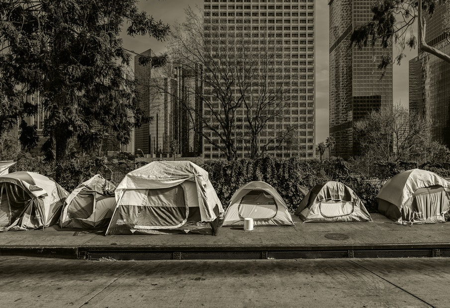 Homeless tents on South Beaudry in Los Angeles
