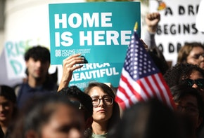 LOS ANGELES, CALIFORNIA - NOVEMBER 12: Students and supporters rally in support of DACA recipients on the day the Supreme Court hears arguments in the Deferred Action for Childhood Arrivals (DACA) case on November 12, 2019 in Los Angeles, California. Hundreds of students walked out of their schools to protest and rally in defense of DACA and immigrant rights. (Photo by Mario Tama/Getty Images)