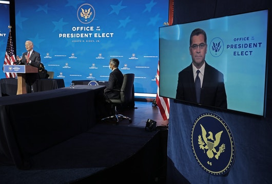 WILMINGTON, DELAWARE - DECEMBER 08: California Attorney General Xavier Becerra, President-elect Joe Biden's choice to be secretary of Heath and Human Services, appears on a video link during a news conference at the Queen Theater December 08, 2020 in Wilmington, Delaware.  With the novel coronavirus pandemic continuing to ravage the country with daily records for infections and deaths, members of Biden's health team said they will make fighting COVID-19 the priority. (Photo by Chip Somodevilla/Getty Images)