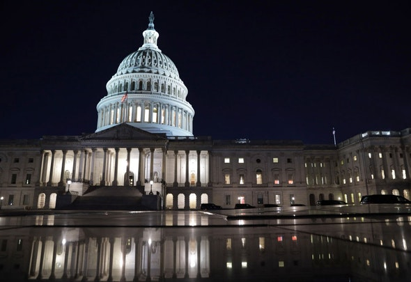 WASHINGTON, DC - MARCH 05: The U.S. Capitol is seen in the evening hours on March 5, 2021 in Washington, DC. The Senate continues to debate the latest COVID-19 relief bill. (Photo by Alex Wong/Getty Images)