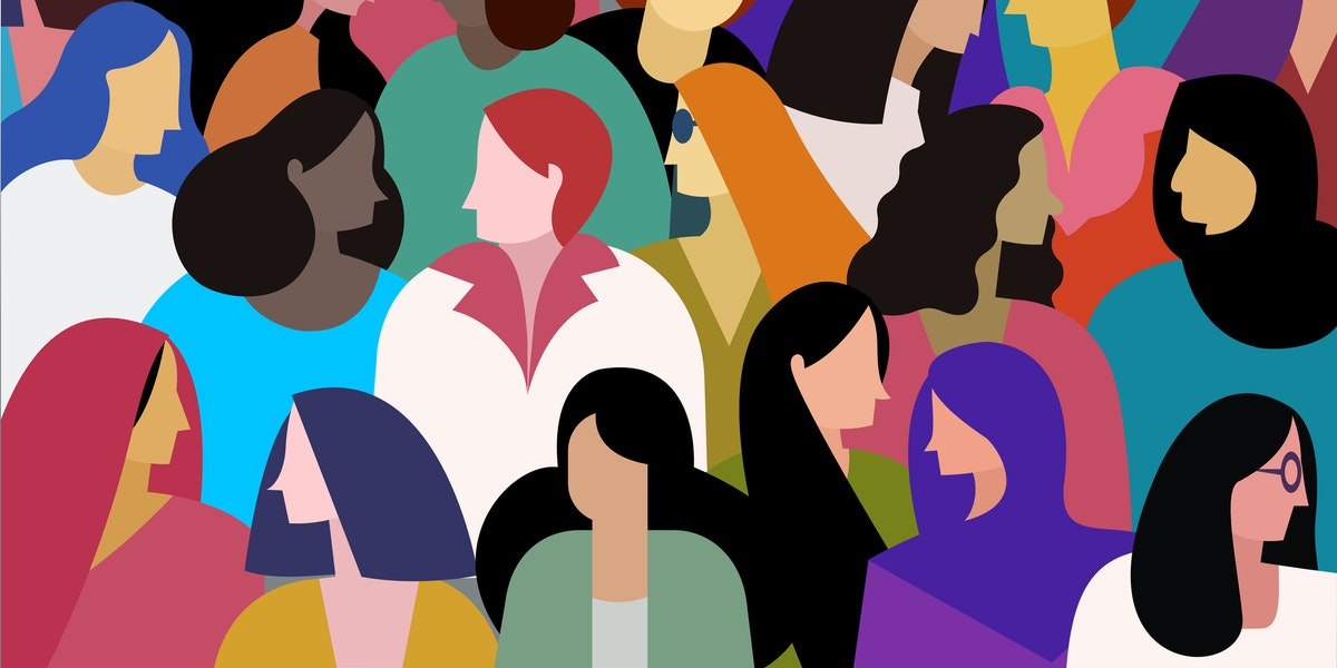 A group of multi ethnic women. Concept for women power