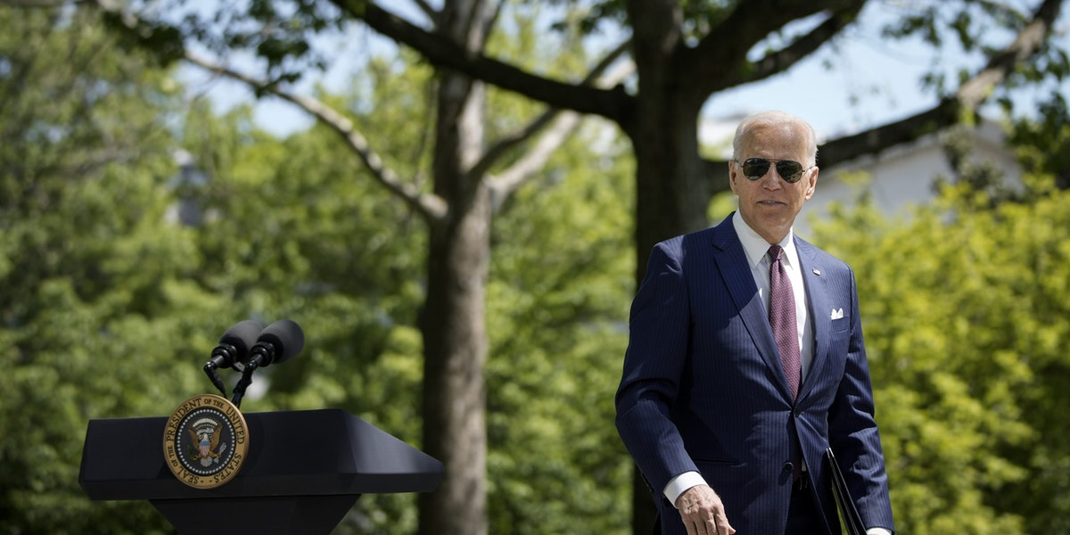 WASHINGTON, DC - APRIL 27: U.S. President Joe Biden departs after speaking about updated CDC mask guidance on the North Lawn of the White House on April 27, 2021 in Washington, DC. President Biden announced updated CDC guidance, saying vaccinated Americans do not need to wear a mask outside when in small groups.  (Photo by Drew Angerer/Getty Images)