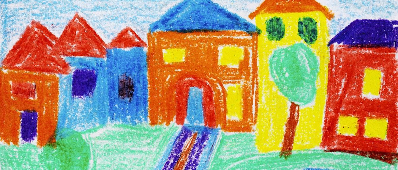 Naive Illustration,Kinderzeichnung,Wohnhauser mit Garten und Auto,Deutschland,Europa,
