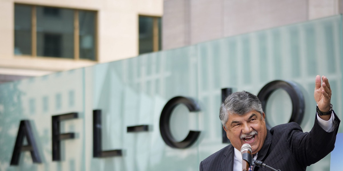 WASHINGTON, DC - JULY 15: AFL-CIO President Richard Trumka speaks during a news conference outside the AFL-CIO headquarters on July 15, 2021 in Washington, DC. The organized labor advocates called for the Senate to repeal the filibuster to allow passage of several bills they support, including the For The People Act and The John Lewis Voting Rights Act.  Trumka, the President of the AFL-CIO since 2009, died at the age of 72 on August 5, 2021. (Photo by Drew Angerer/Getty Images)