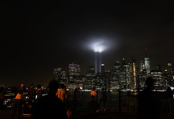 NEW YORK, NY - SEPTEMBER 11:  The 'Tribute in Light' memorial lights up lower Manhattan near One World Trade Center on September 11, 2018 in New York City. The tribute at the site of the World Trade Center towers has been an annual event in New York since March 11, 2002.Throughout the country services are being held to remember the 2,977 people who were killed in New York, the Pentagon and rural Pennsylvania in the terrorist attacks on September 11, 2001.  (Photo by Spencer Platt/Getty Images)